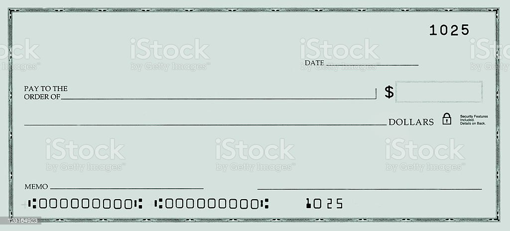 A template of a green blank check with false account numbers stock photo