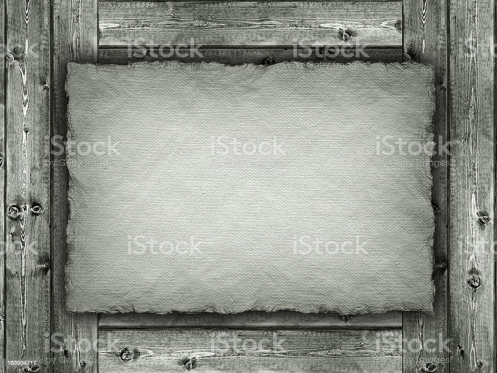 Template - paper sheet on wood background royalty-free stock photo