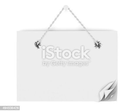 istock Template paper signs with rope. 3d. 494536426
