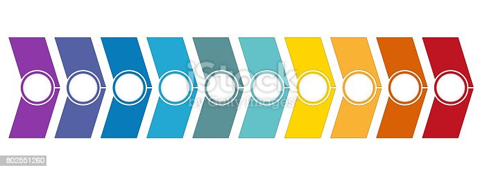 istock Template Timeline Infographic from colour arrows 10 position 802551260
