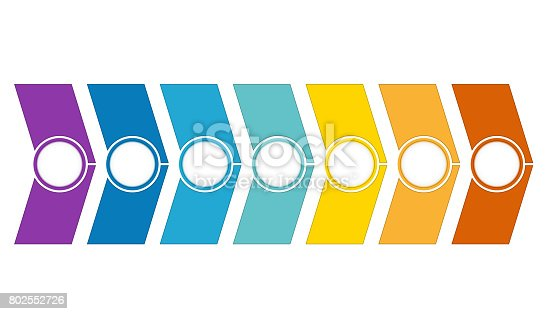 istock Template Timeline Infographic from colour arrows 7 position 802552726