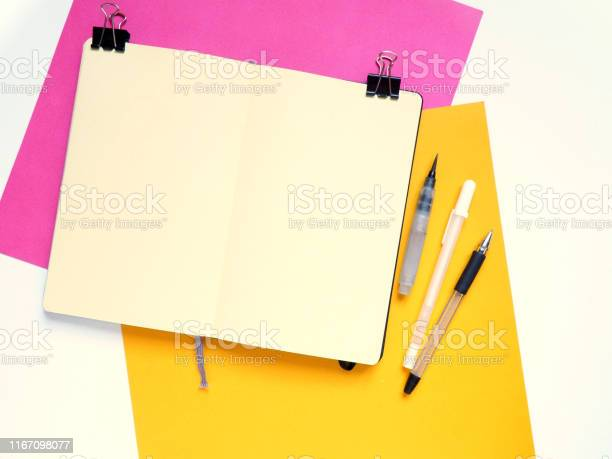 Template with blank notebook and drawing tools on white yellow and picture id1167098077?b=1&k=6&m=1167098077&s=612x612&h=w wfnka9jobfs4waj2fkhjv tsscpl4ccspz1rdsetk=