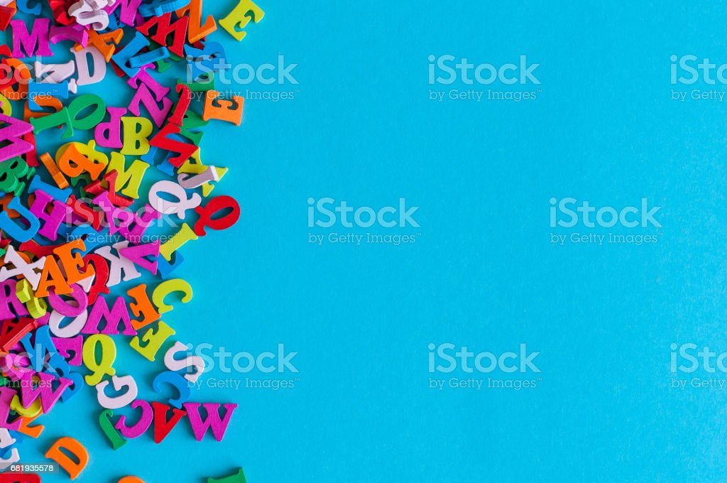 Template with many color letters, ABC with blue background and empty space for text. Business and education concept stock photo