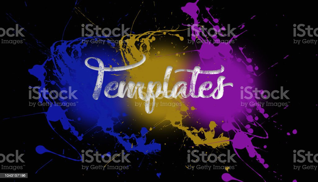 templates paint splatter on a black wall caligraphy type font 3 color explosion - foto stock