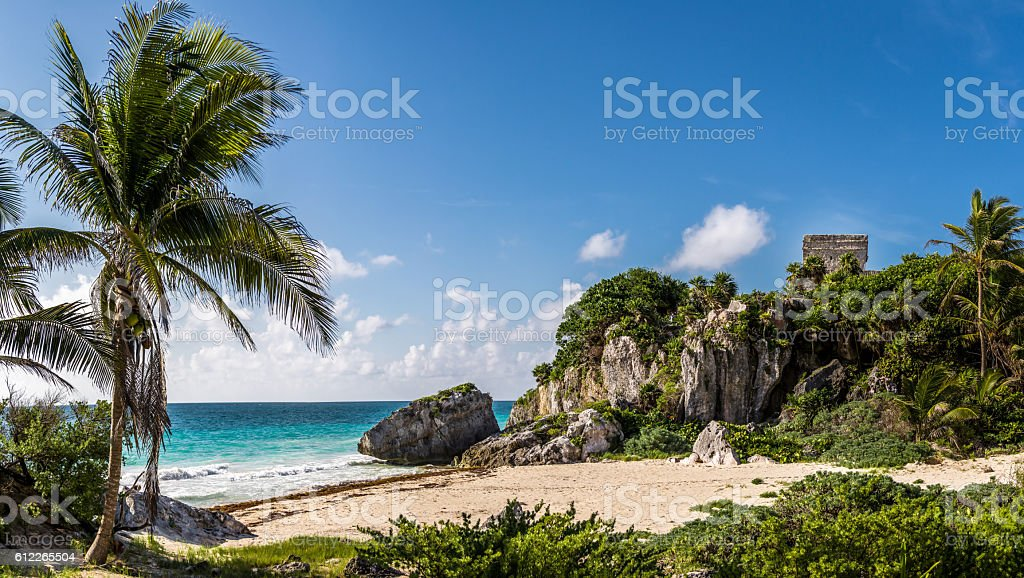 Temple and Caribbean beach - Mayan Ruins of Tulum, Mexico stock photo