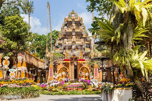 Temple and garden of the Ubud Palace on Bali island, Indonesia