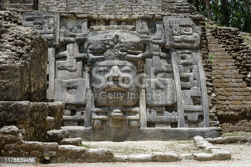 Temple and Pyramid of Masks, Lamanai Archaeological Reserve, Orange Walk, Belize, Central America.