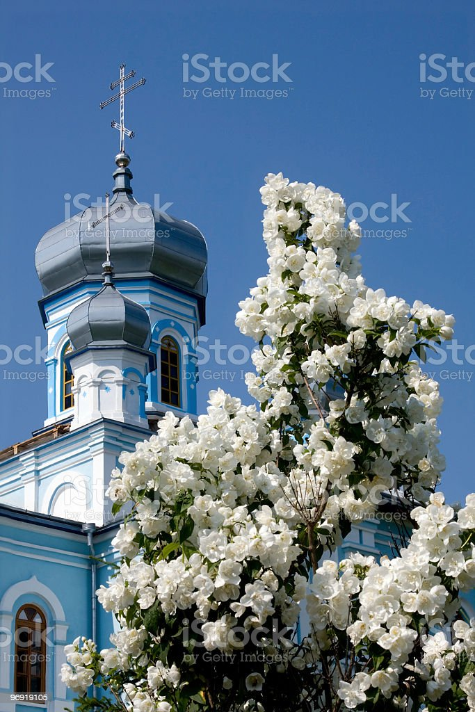 Temple and white lilac royalty-free stock photo