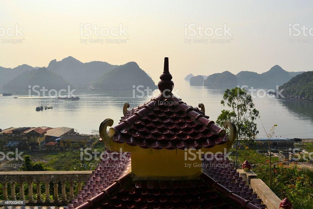 Temple at Halong Bay, Vietnam, Unesco World Heritage Site stock photo