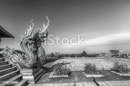 Naga statues in black and white at Wat Phuphrao or Sirindhorn wararam temple,Ubon Ratchathani province,Thailand
