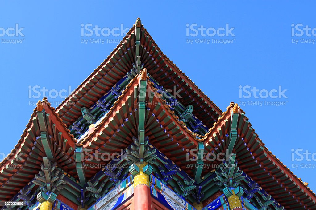 temple building under the blue sky stock photo