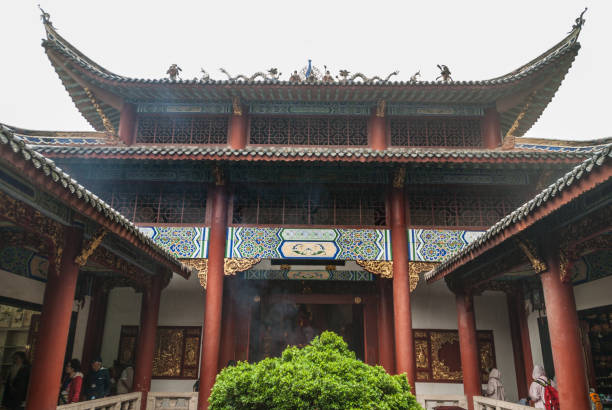 Temple building with courtyard at religious Ghost City, Fengdu, China. stock photo