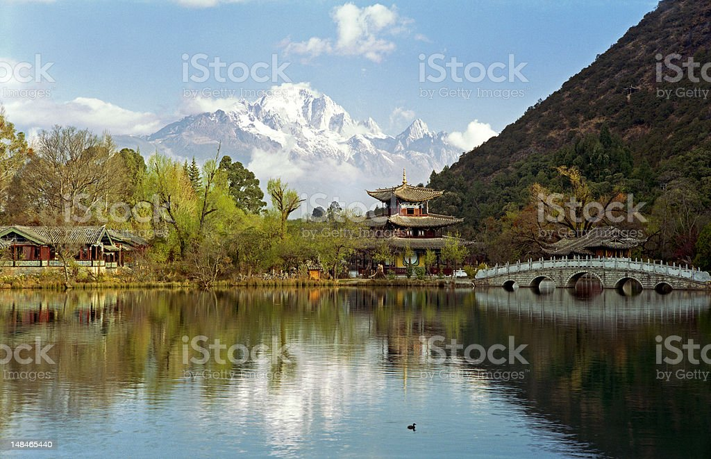 Temple by a lake royalty-free stock photo