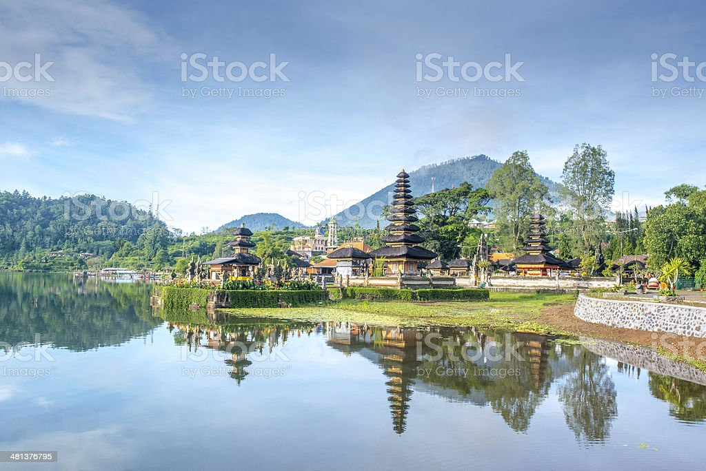 Temple by the lake in Bali stock photo
