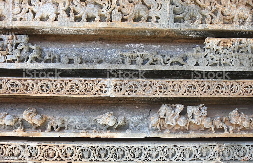 Temple carvings at Halebeedu, Karnataka royalty-free stock photo