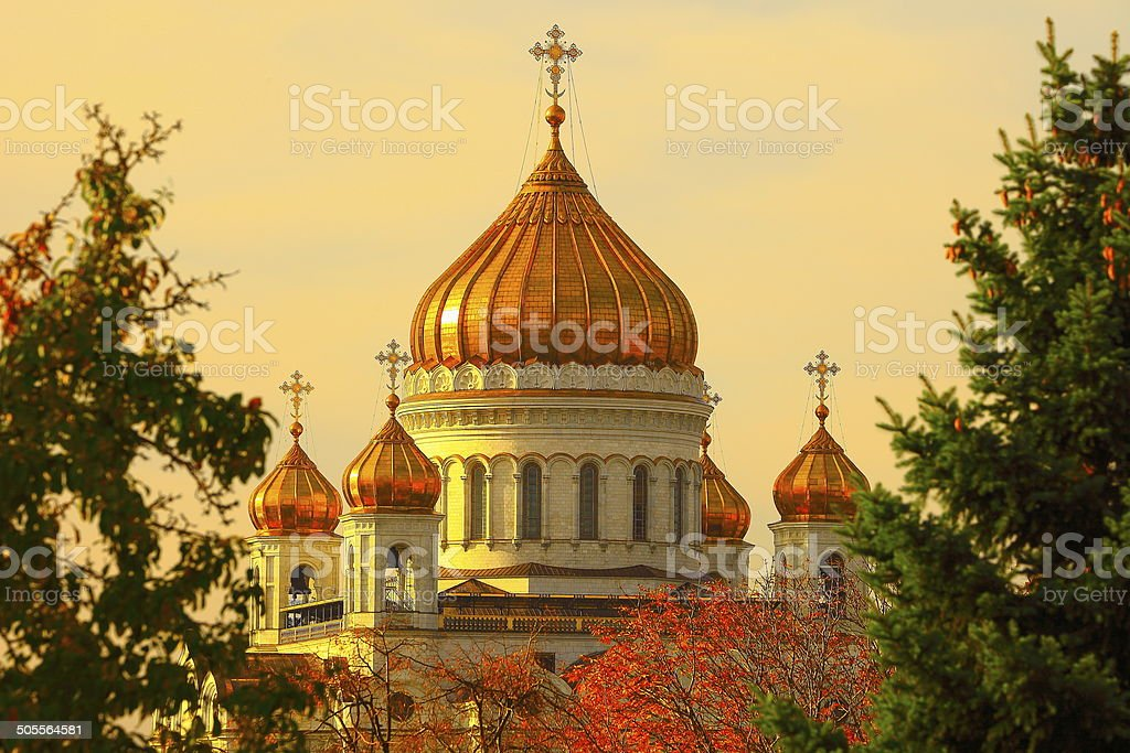Temple / Cathedral of Christ the Savior at sunset, Moscow stock photo