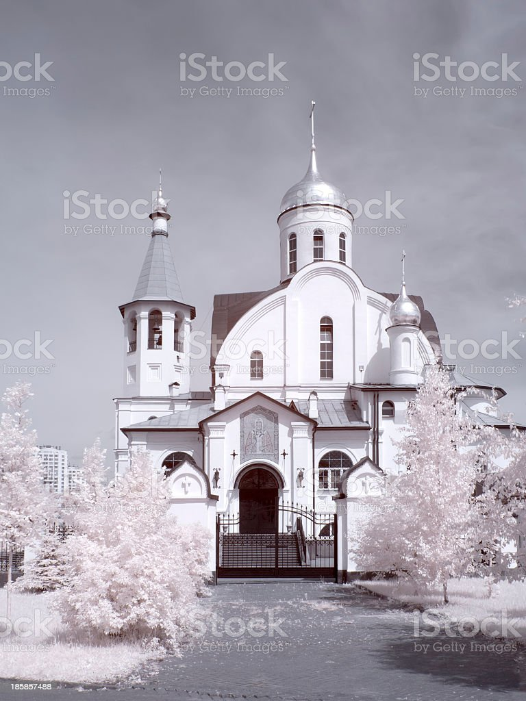 Temple. City Реутов. Infrared photo stock photo
