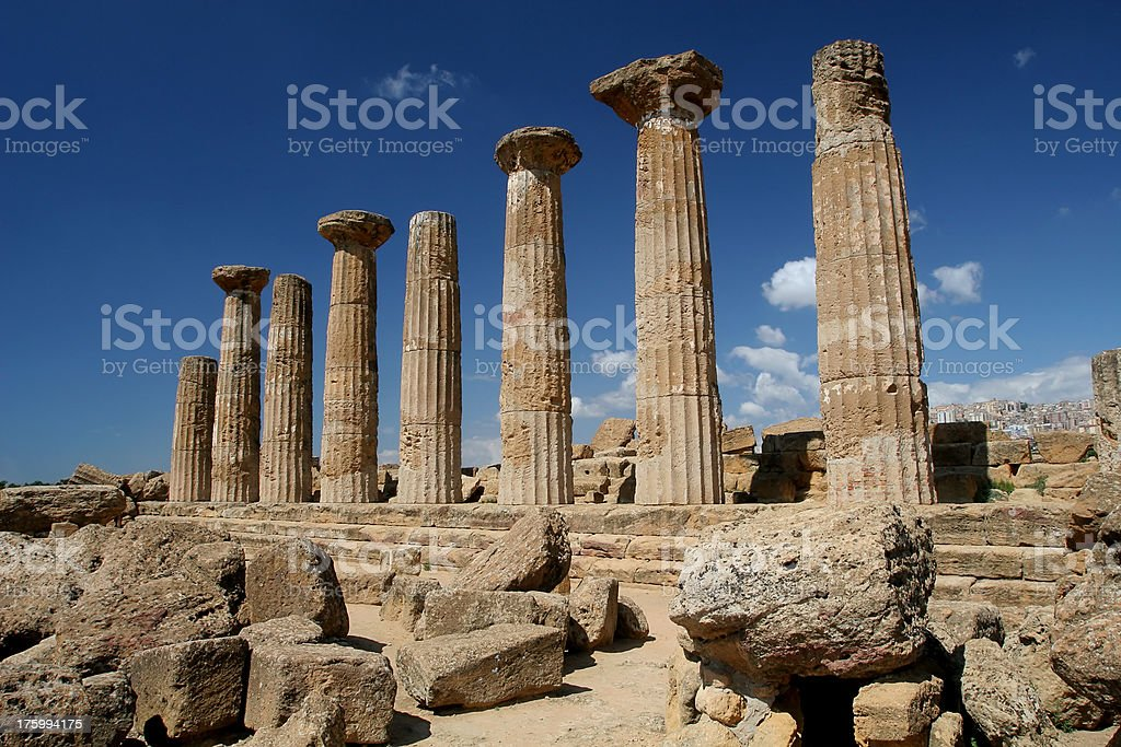 Temple columns at Agrigento royalty-free stock photo