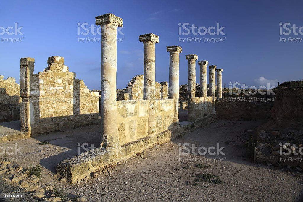 Temple columns at Paphos, Cyprus. royalty-free stock photo
