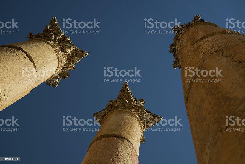 Temple Columns, Jerash, Jordan stock photo