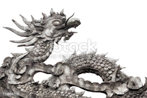 Old dragon sculpture of asian temple roof isolated on white.
