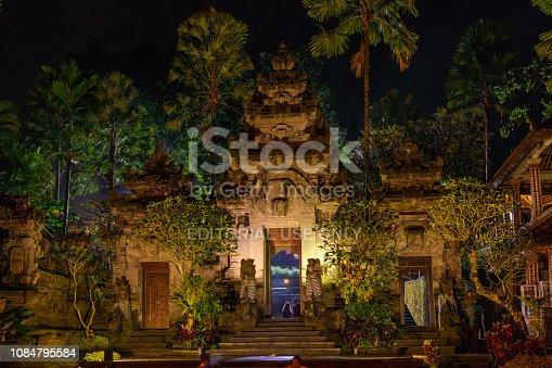Bali, Indonesia - August 5, 2018: view showing Temple Gate Royal Palace at night in Ubud, Bali