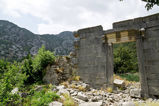 Temple in ancient Lycian town of Olympos (Cirali, Turkey) ストックフォト