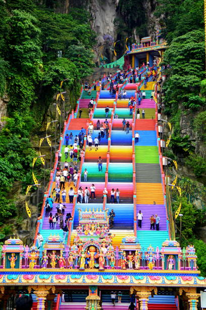 Temple in Batu Caves Malaysia Batu Caves is a limestone hill that has a series of caves and cave temples in Gombak, Selangor, Malaysia. kuala lumpur batu caves stock pictures, royalty-free photos & images