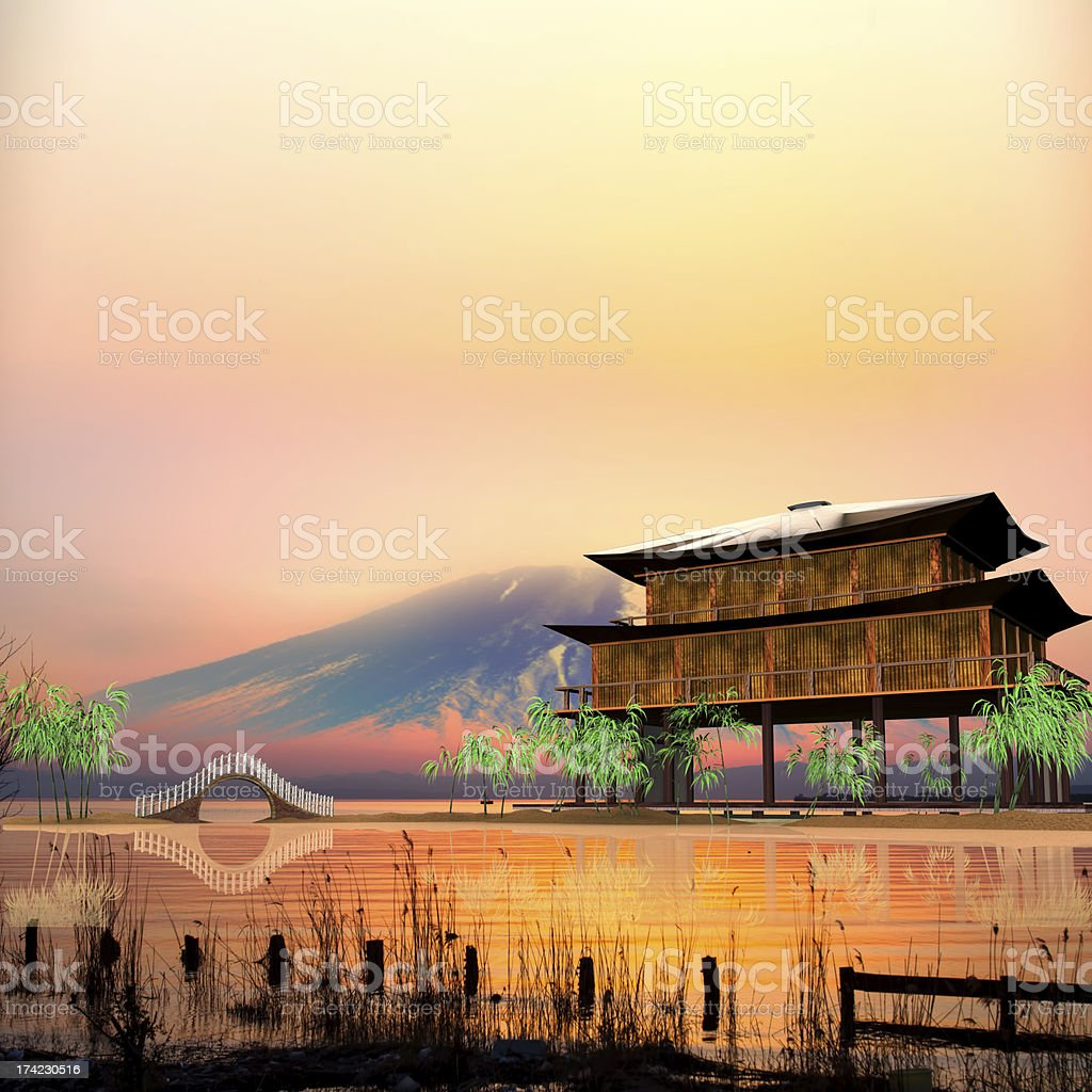 temple in Lake with nice sky stock photo