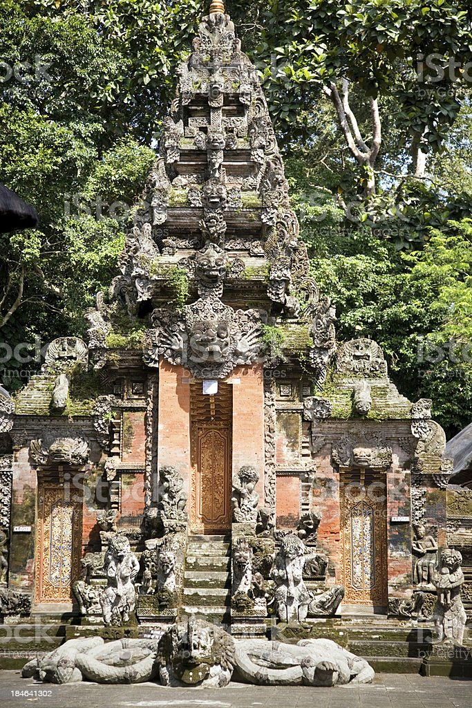 Temple in Monkey Forest Ubud Bali stock photo