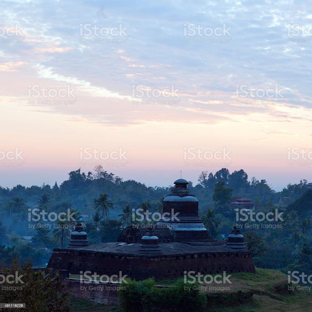 Temple in Mrauk U Archaeological Zone, Myanmar stock photo