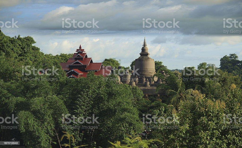 Temple in Mrauk U, Sittwe District, Rakhine State, Myanmar. stock photo