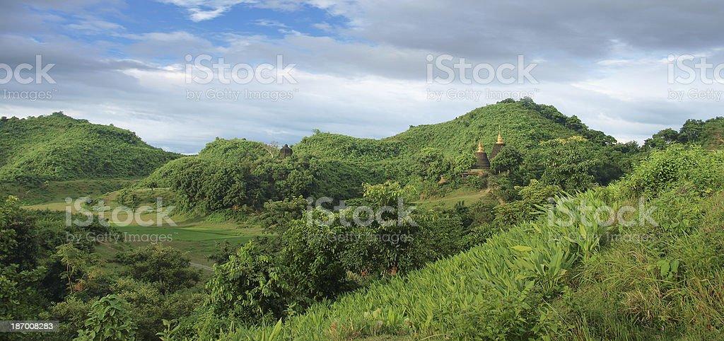 Temple in Mrauk U, Sittwe, Rakhine State, Myanmar. stock photo
