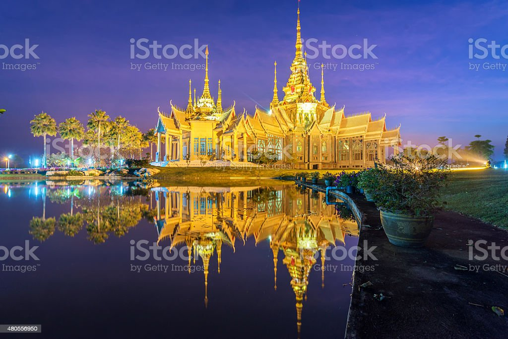 temple in reflection stock photo
