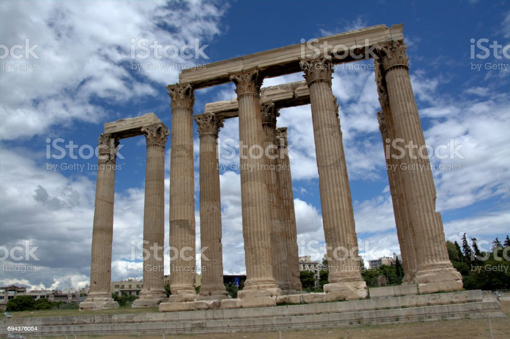 Temple in the grounds of Temple of Zeus, Athens, Greece stock photo