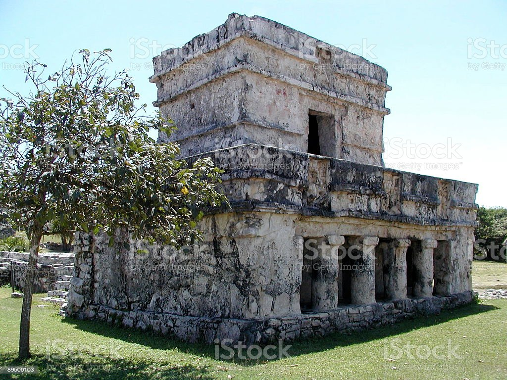 Temple in the Mayan ruins of Tulum royalty-free stock photo