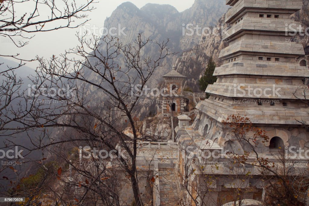 Temple in the mountains of China stock photo