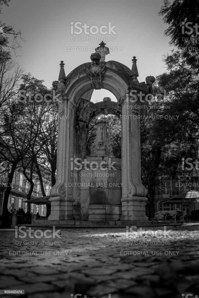 Temple in the square Largo do Carmo in Lisbon Portugal. February 2018 stock photo