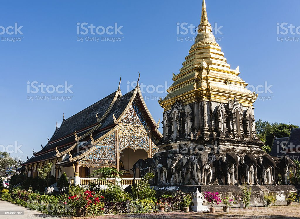 Temple in Wat Chiang Man, Thailand stock photo