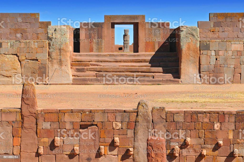 Temple Kalasasaya, pre Columbian Archaeological Site in Tiwanaku, Bolivia. stock photo