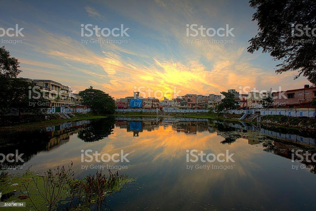 Temple lake in Chennai stock photo