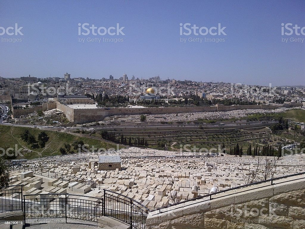 temple mount and mount of olives royalty-free stock photo