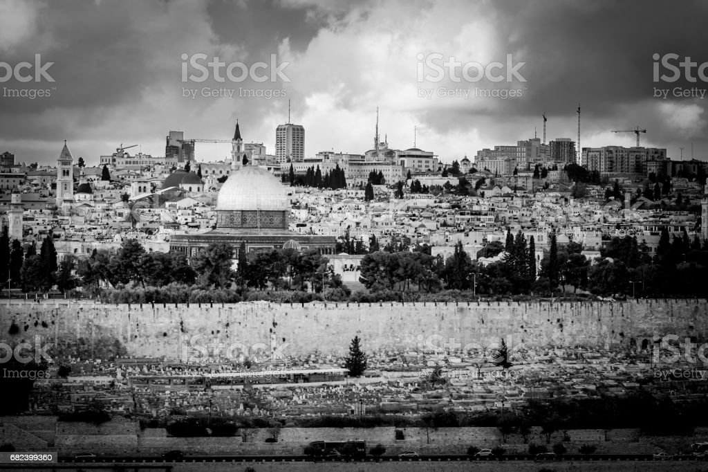 Temple mount black and white royalty-free stock photo