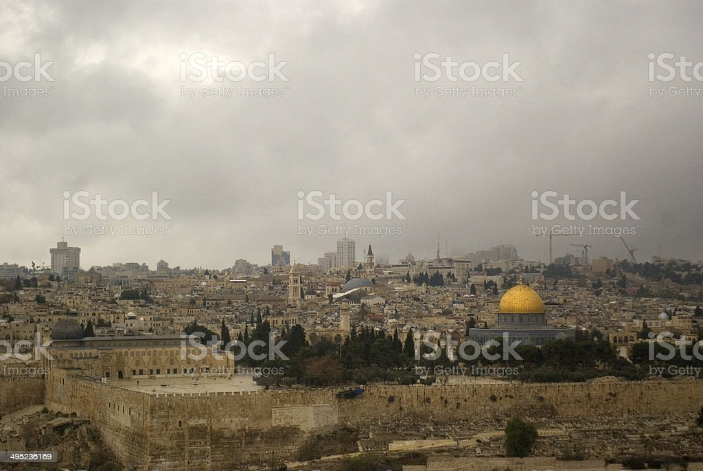 Temple Mount from Mount of Olives, Jerusalem, Israel stock photo
