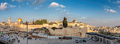 Panoramic view of Temple Mount in the old city of Jerusalem, including the Western Wall and golden Dome of the Rock, Jerusalem, Israel.