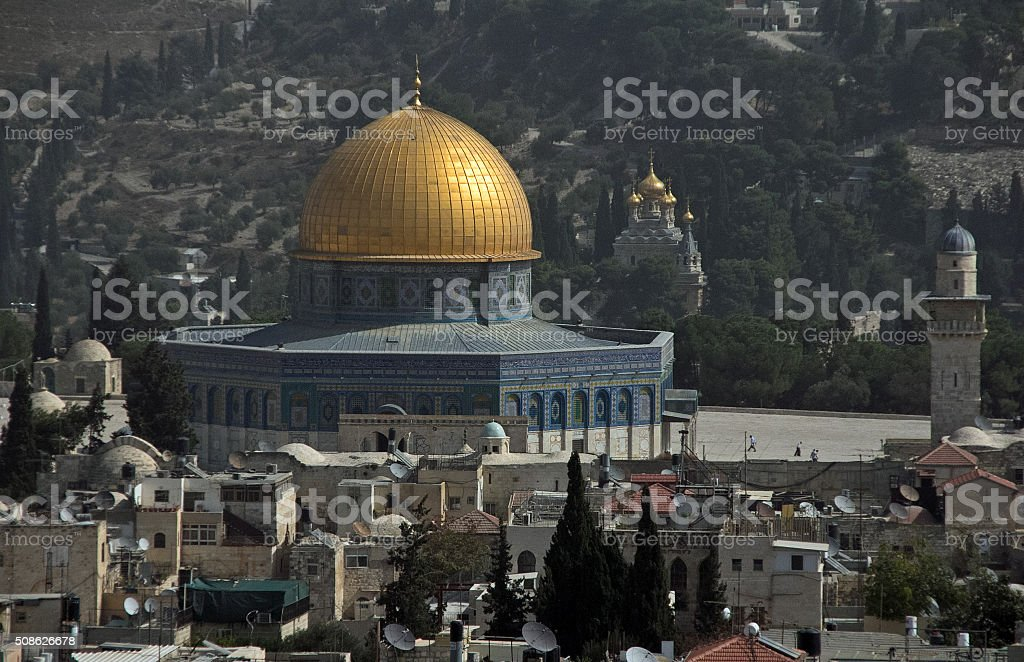 Temple Mount with Al-Aqsa Mosque stock photo