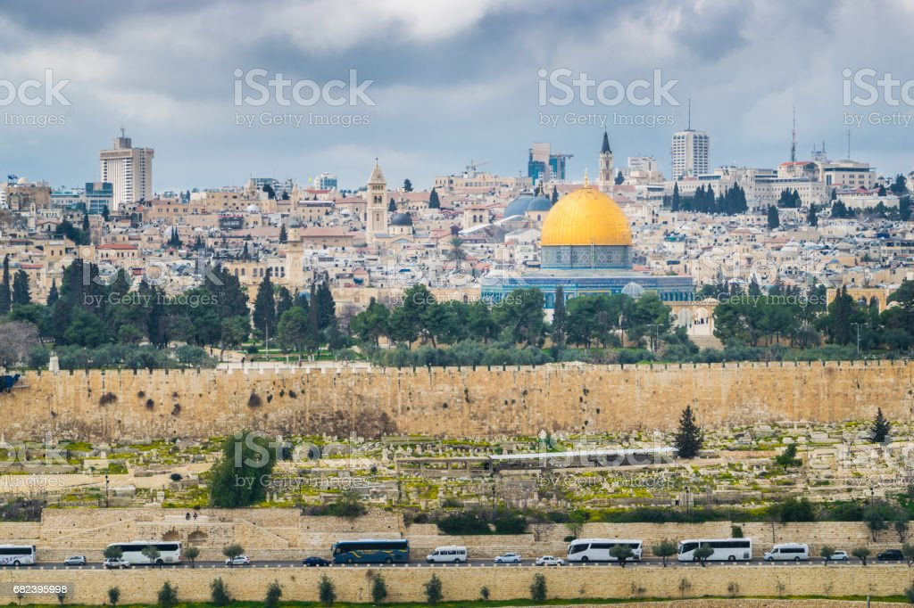 Temple mount with buses royalty-free stock photo
