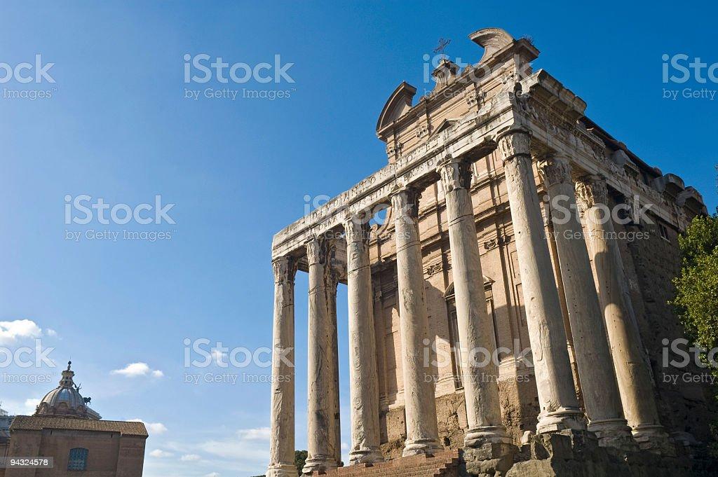 Temple of Antoninius and Faustina, Rome royalty-free stock photo