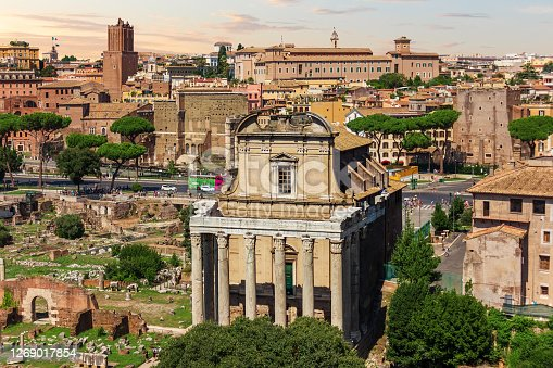 Temple of Antoninus and Faustina in the Roman Forum, Rome, Italy.