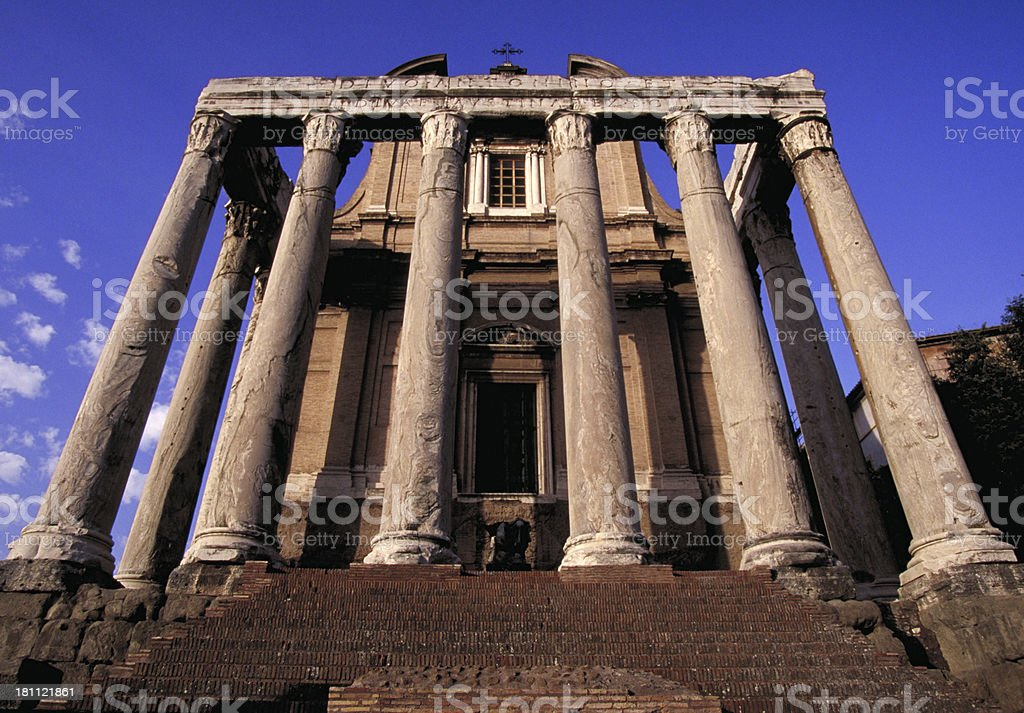 Temple of Antonius and Faustina in Rome's Forum. stock photo